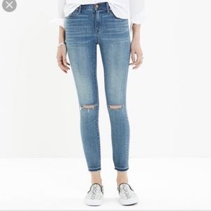 Madewell High Riser Skinny Ripped Knees Jeans